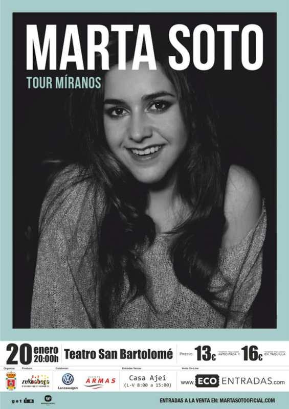 Marta Soto presenta 'Míranos', su primer disco, en Lanzarote. El concierto de la artista onubense será el domingo, 20 de enero, en el Teatro de San Bartolomé.