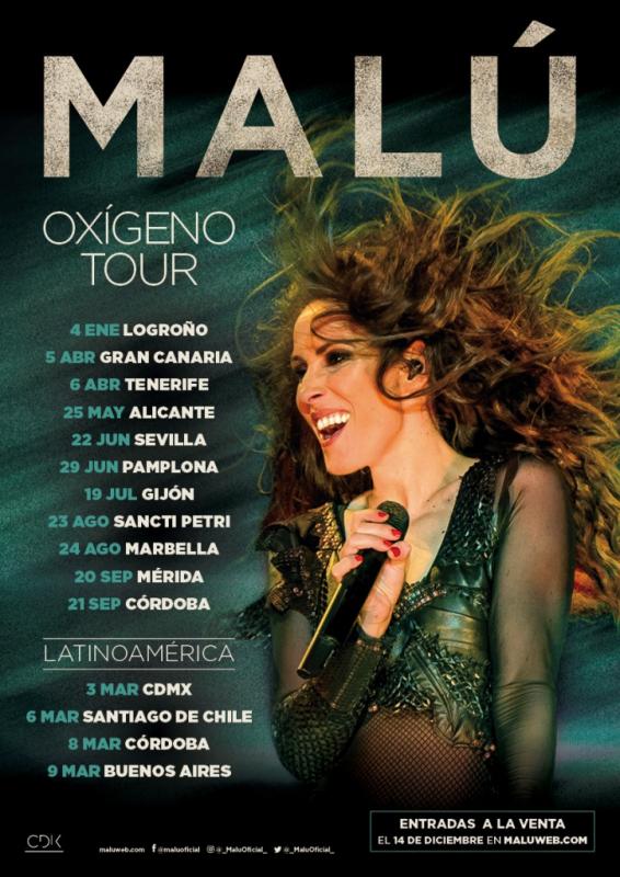 Malú conciertos en Gran Canaria y Tenerife. Tour Oxígeno