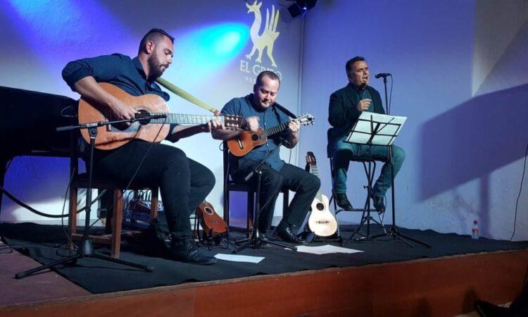Concierto de timple, guitarra y voz formado por el timplista José Vicente Pérez, el guitarrista Manuel Adrián Niz y el solista Ciro Corujo.