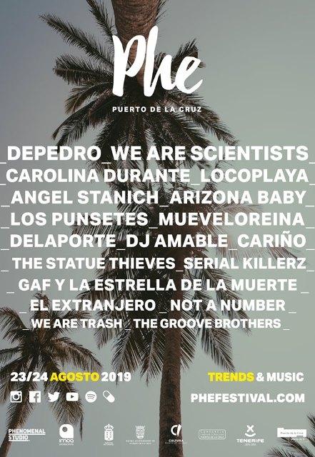 La cuarta edición de Phe Festival contará con un cartel compuesto por más de 15 artistas entre los que destacan We Are Sciencitsts, The Statue Thieves y Depedro.