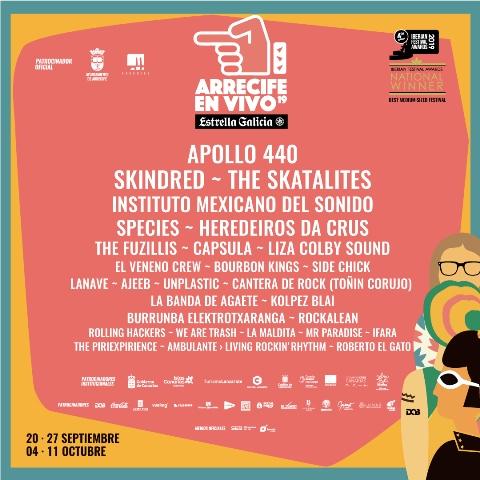Arrecife en Vivo vuelve a Lanzarote con un cartel encabezado por Apollo 440, Instituto Mexicano del Sonido, Skindred y The Skatalites. 20 y 27 de septiembre   4 y 11 de octubre
