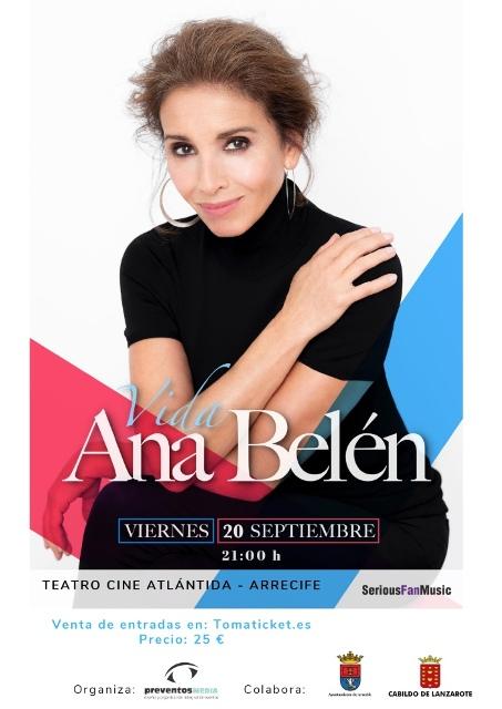 Ana Belén actuará el viernes, 20 de septiembre, en Arrecife. La artista madrileña presentará su nuevo disco titulado 'Vida'.