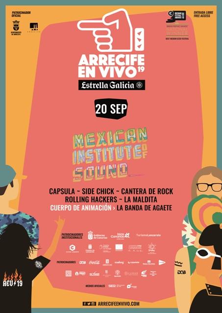 El viernes 20 de septiembre vuelve Arrecife en Vivo y contará con los conciertos de Instituto Mexicano del Sonido, Capsula, Side Chick y la Cantera Rock de la Escuela de Música de Toñín Corujo.