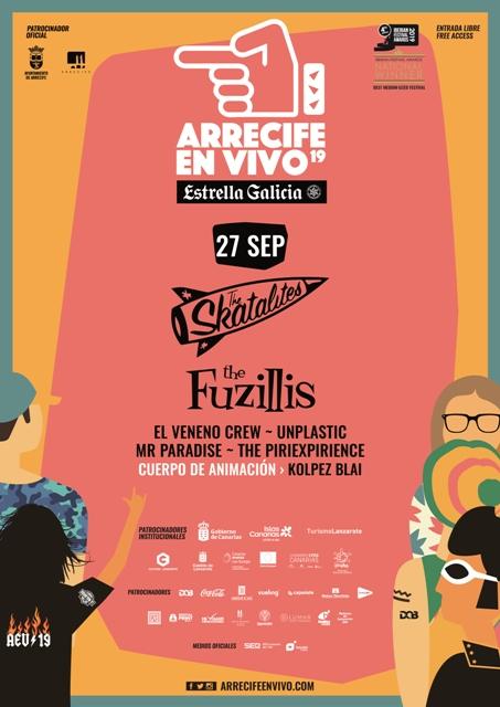 El viernes 27 de septiembre Arrecife en Vivo celebra su segunda jornada y tendrá los conciertos de The Skatalites, The Fuzillis, El Veneno Crew y Unplastic.