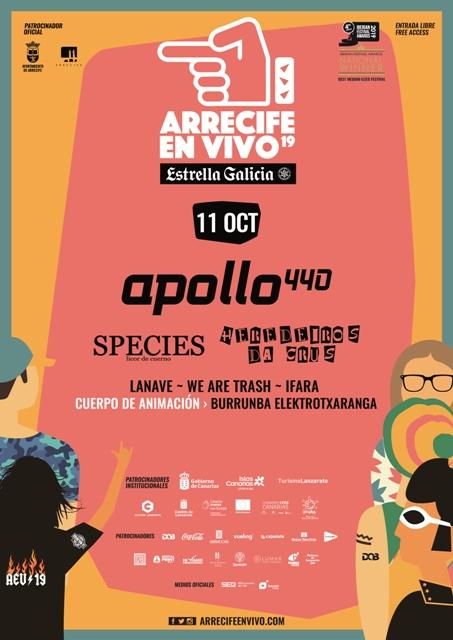 el viernes 11 de octubre llegará el cierre de Arrecife en Vivo 2019 y contará con los conciertos de Apollo 440, Species, Heredeiros da Crus, Lanava, we are trash, ifara