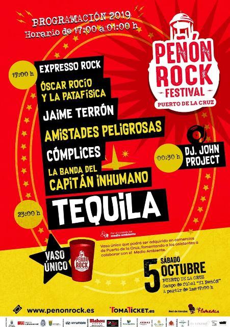 Tequila, Cómplices, La Banda del Capitán Inhumano, Amistades Peligrosas, Jaime Terrón y los canarios Expresso Rock y Oscar Rocío y La Patafísica completan el cartel del Peñón Rock Festival 2019