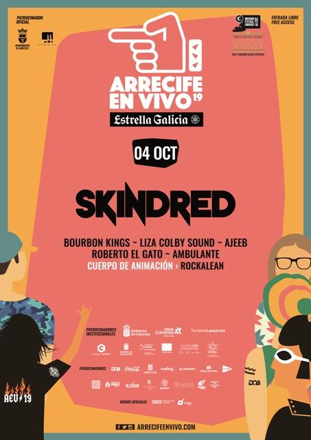 Skinred, Bourbon Kings, Liza Colby Sound, Ajeeb, Roberto El Gato, Ambulante y Rockalean traerán su música el viernes 4 de octubre en la tercera jornada del festival Arrecife en Vivo.
