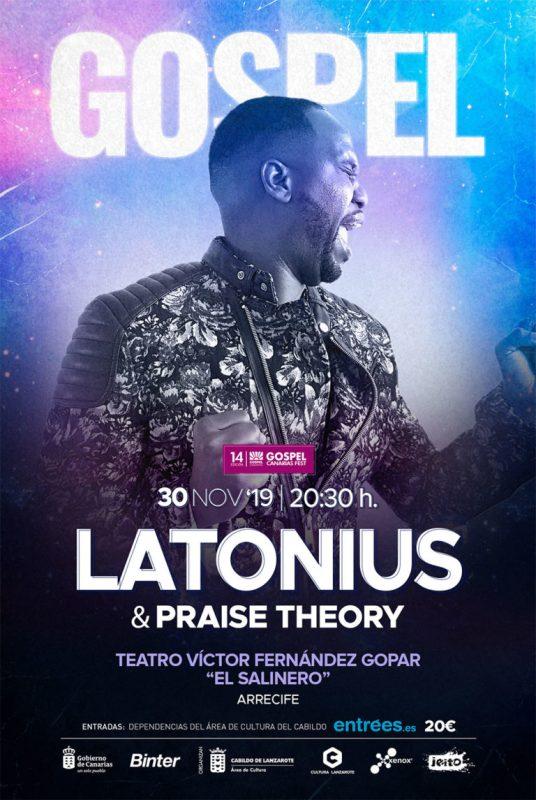 """El cantante estadounidense Latonius y su grupo actuarán el 30 de noviembre en el Teatro """"El Salinero"""" inaugurando la 14ª edición del Gospel Canarias Fest."""