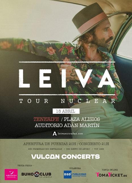 Leiva actuará el 17 de abril en Las Palmas de Gran Canaria en la plaza de la Música anexo al auditorio Alfredo Kraus y el 18 de abril en Santa Cruz de Tenerife en la explanada del auditorio Adán Martín.