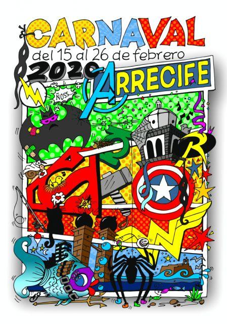 Concierto de Los Salvapantallas en el carnaval de día de Arrecife del 15 de febrero