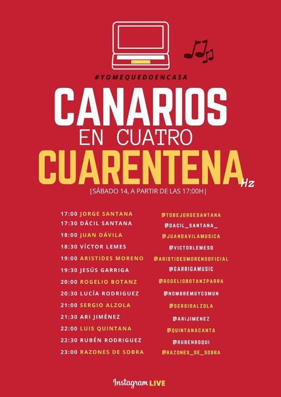 Canarios en cuatro cuarentena Hz. Sábado 14 de marzo a partir de las 17:00 horas.