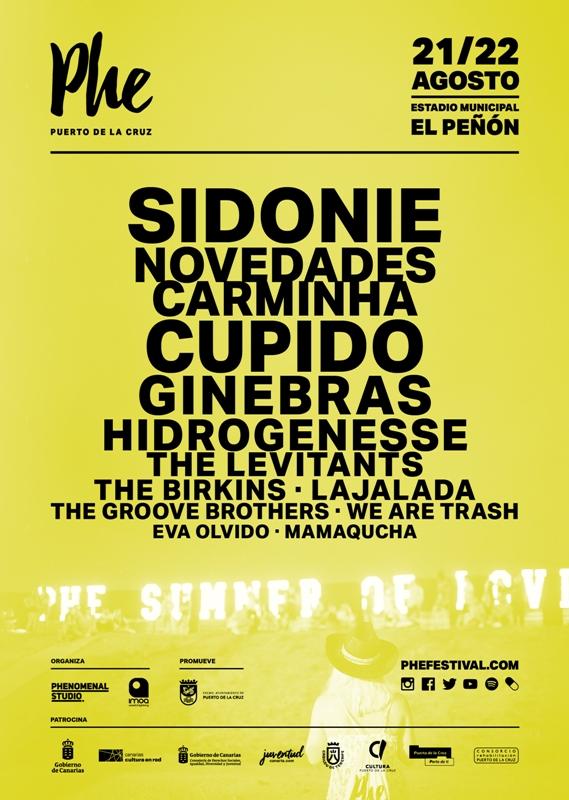 La edición 2020 del PHE festival celebrará sus dos jornadas de conciertos el 21 y 22 de agosto en el Estadio Municipal El Peñón de Tenerife.